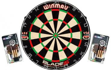 Dartboard WINMAU Original Blade 5 + 2 Steeldart Sets Broadside Brass